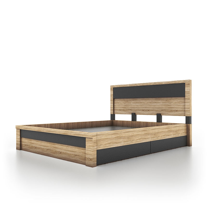 contemporary bed platform with 2 drawer storage with oak wood finish
