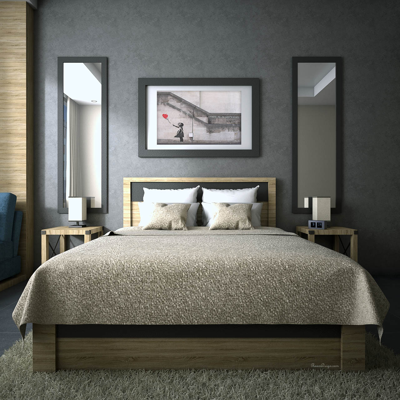 Oak bedroom furniture with grey walls