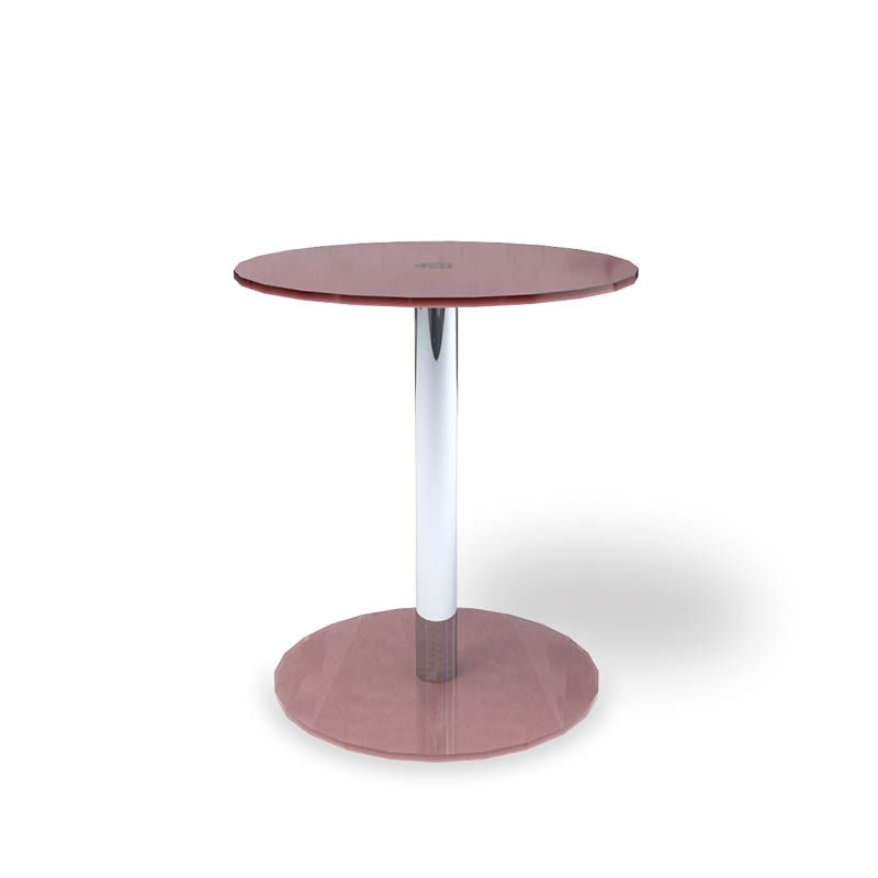 2-Tier Tempered Pink Glass Round End Table