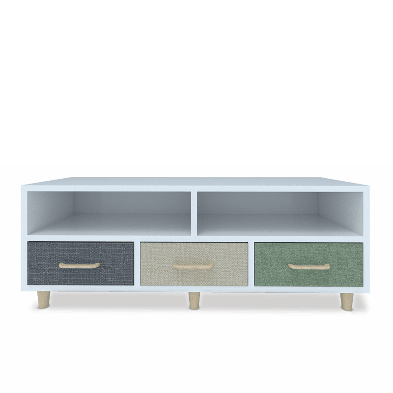 contemporary tv storage cabinet with shelves and 3 fabric drawers - grey fabric drawer, beige fabric drawer and green fabric drawer