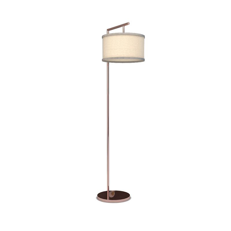 Rose Gold Pole Lamp with Hanging Drum Shade  - Bedroom lightning