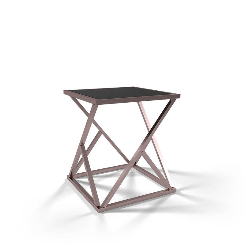square rose gold end table / nightstand table bedroom furniture