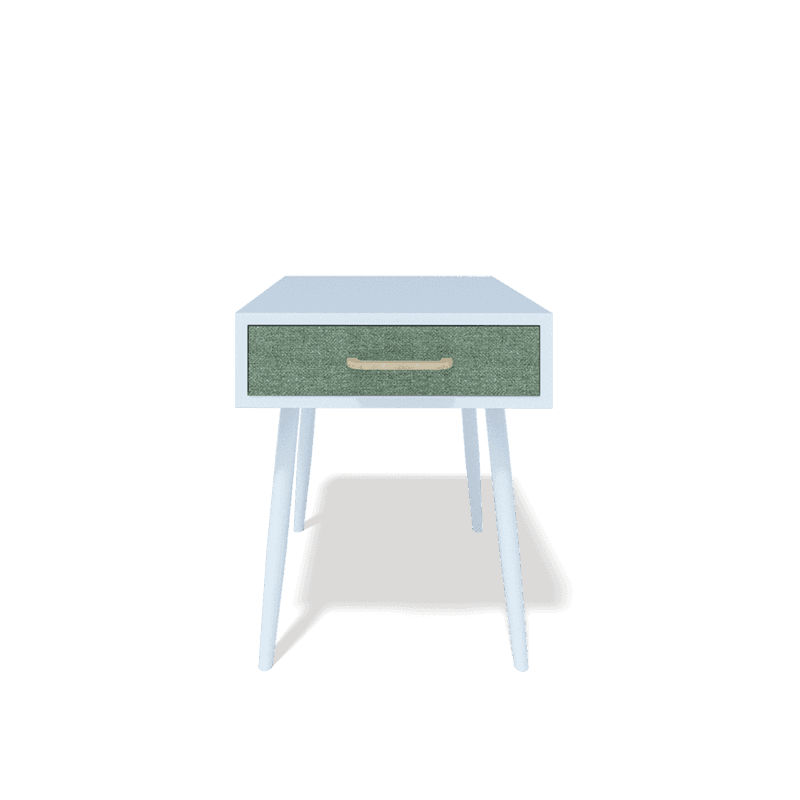 white nightstand / bedside table with 1 green fabric drawer and light wood handler