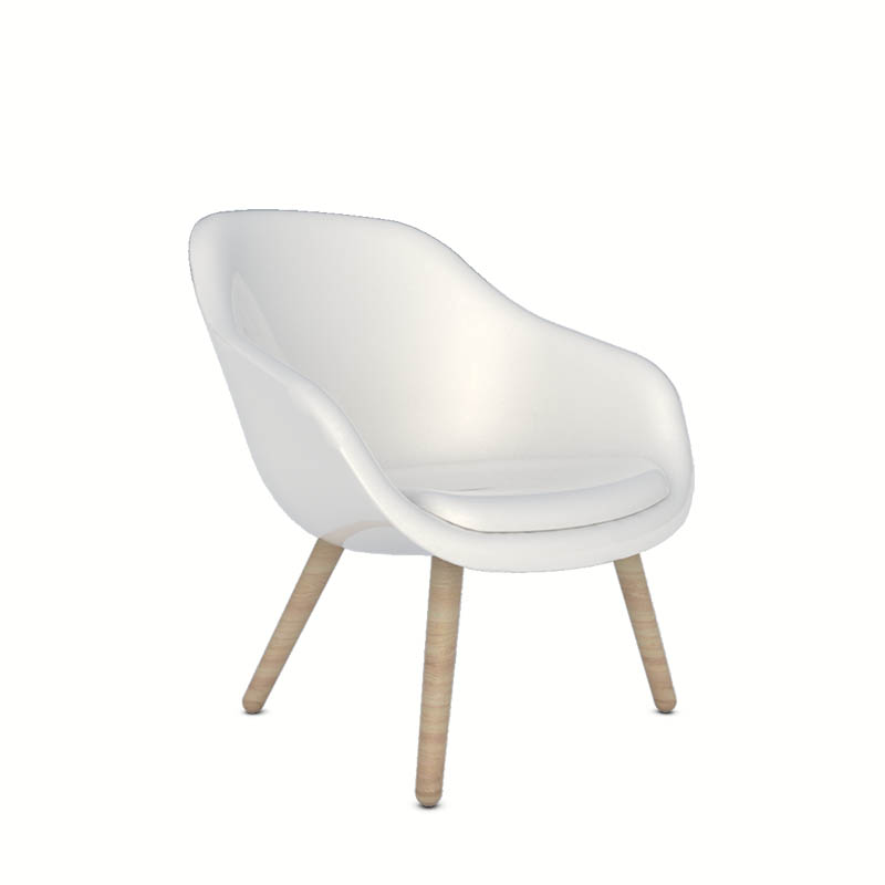 White plastic chair with wooden leg for bedroom