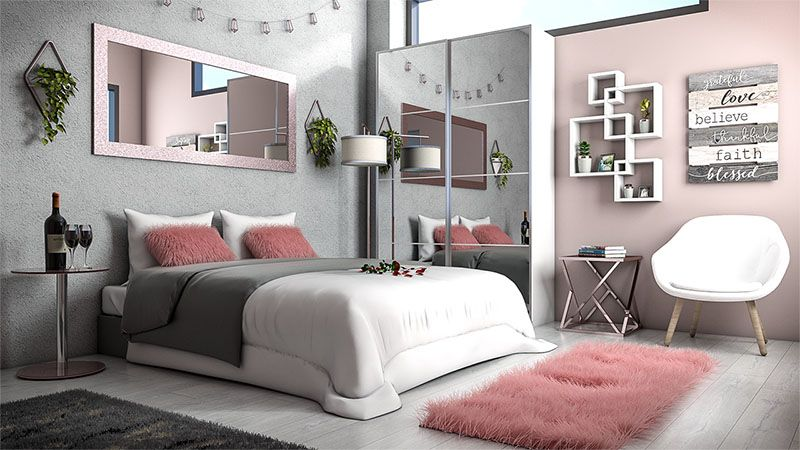 White, Rose Gold and Grey Bedroom Ideas