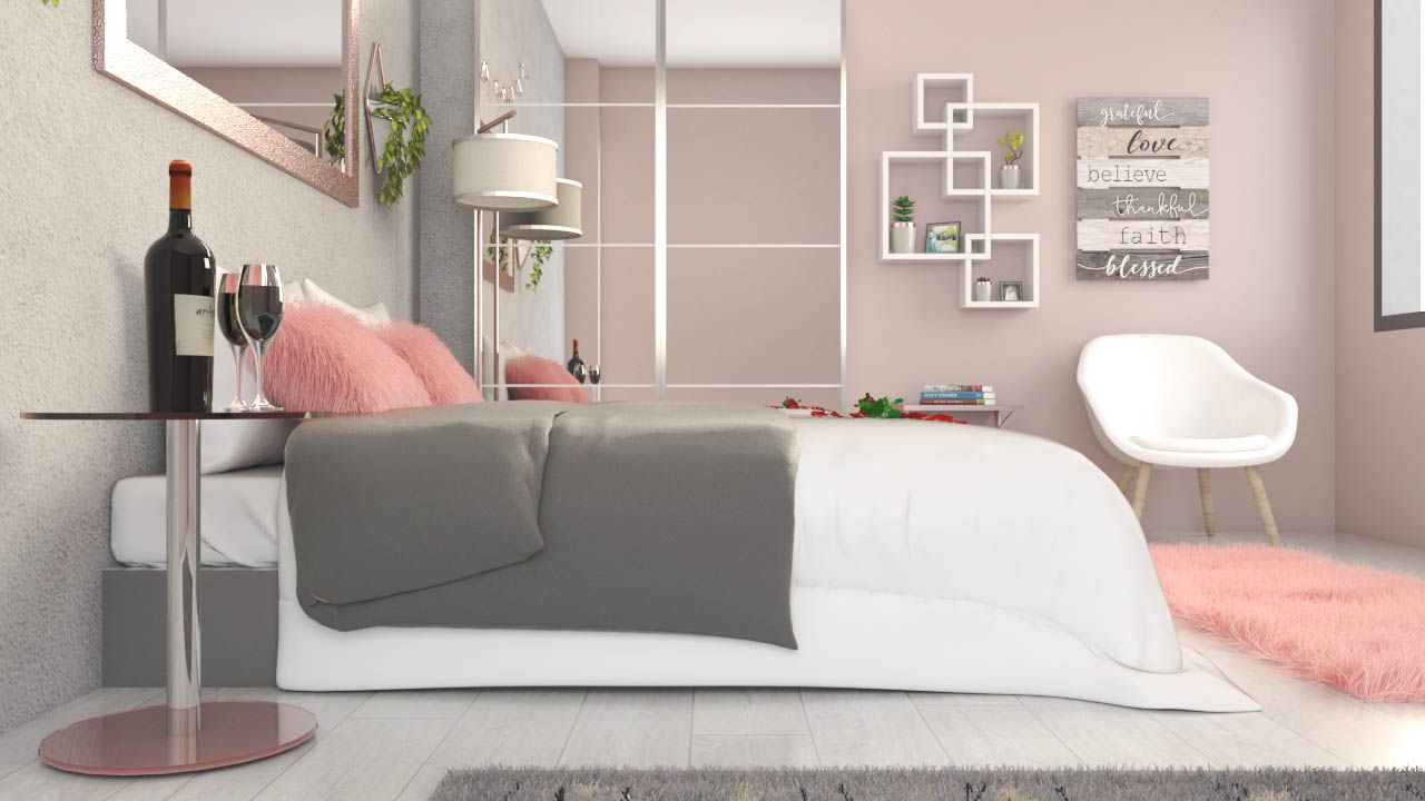 White rose gold bedroom interior ideas