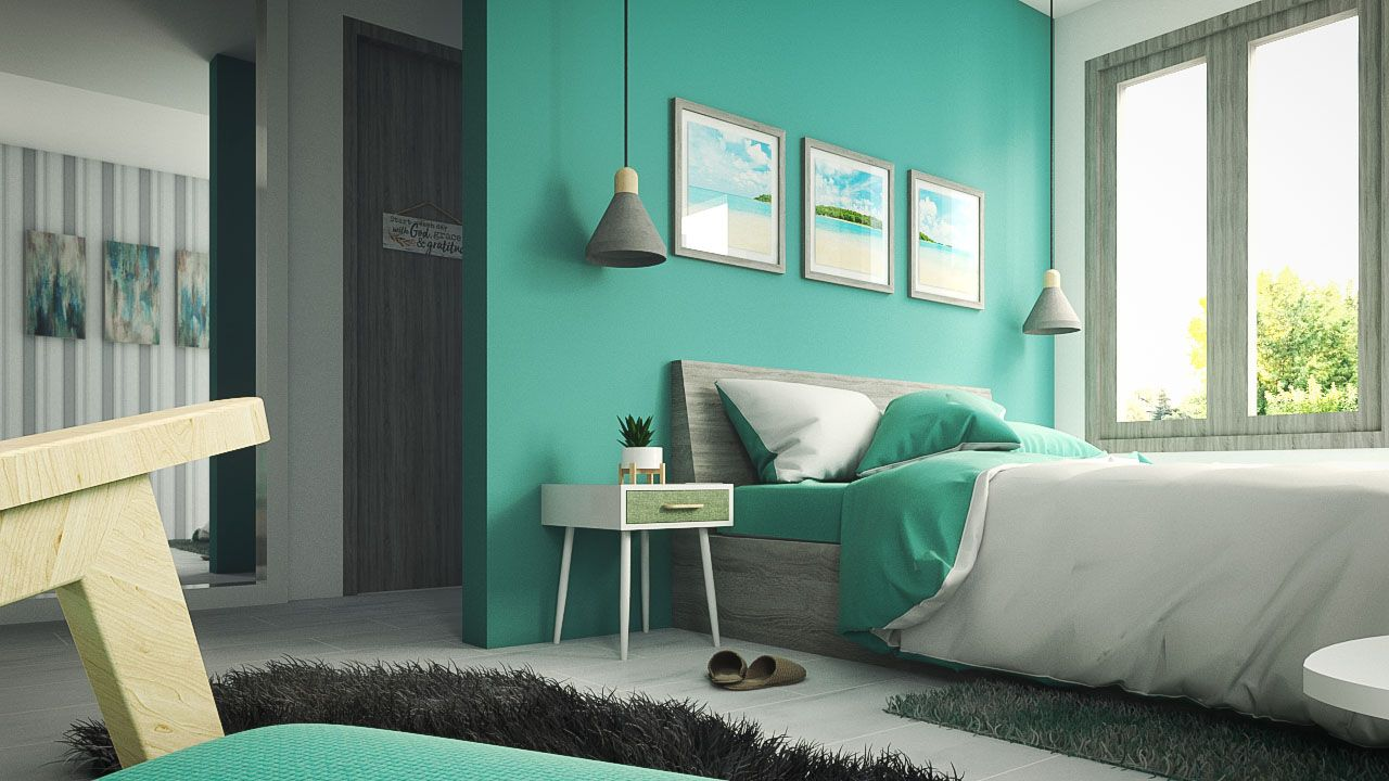 teal and grey bedroom ideas - teal bedroom interior ideas