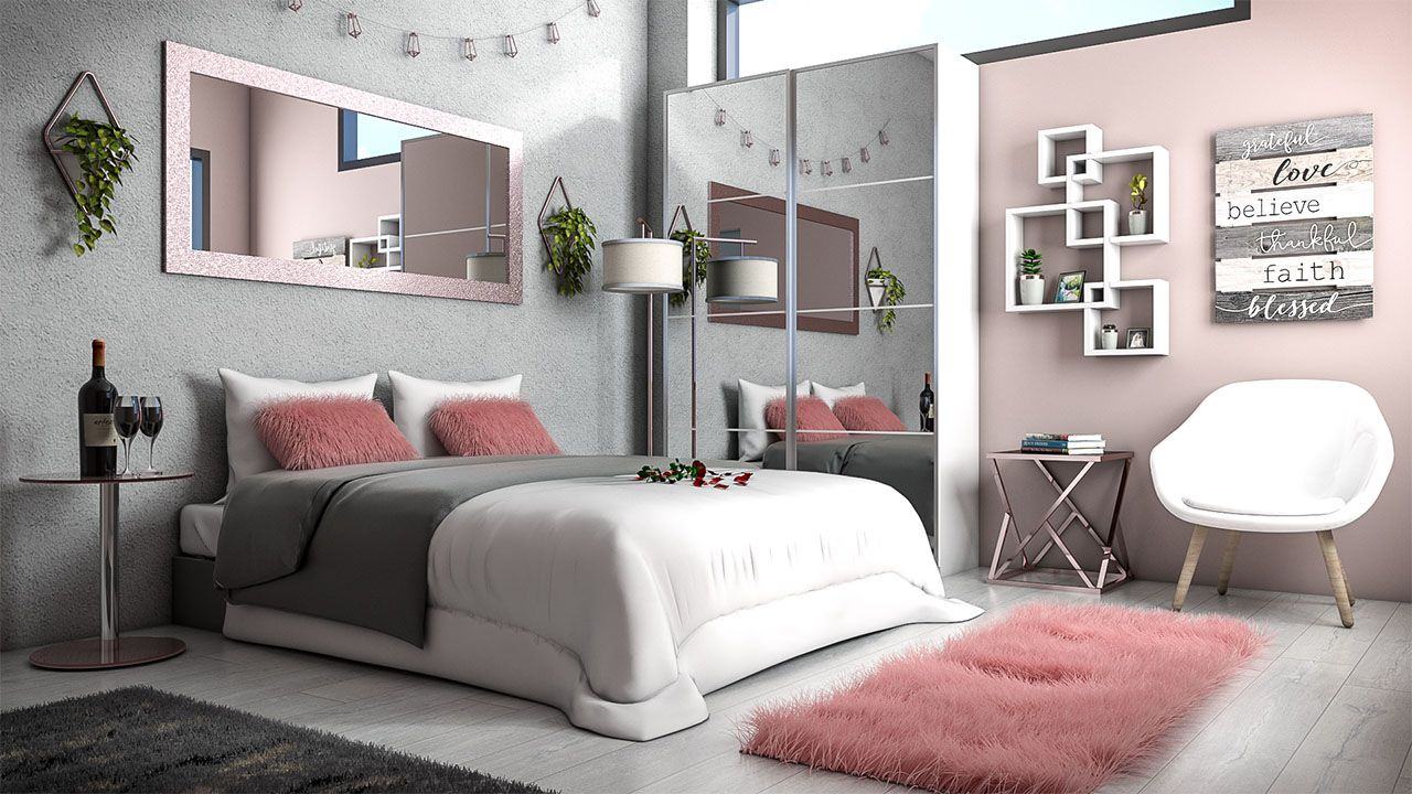 White rose gold and grey bedroom ideas