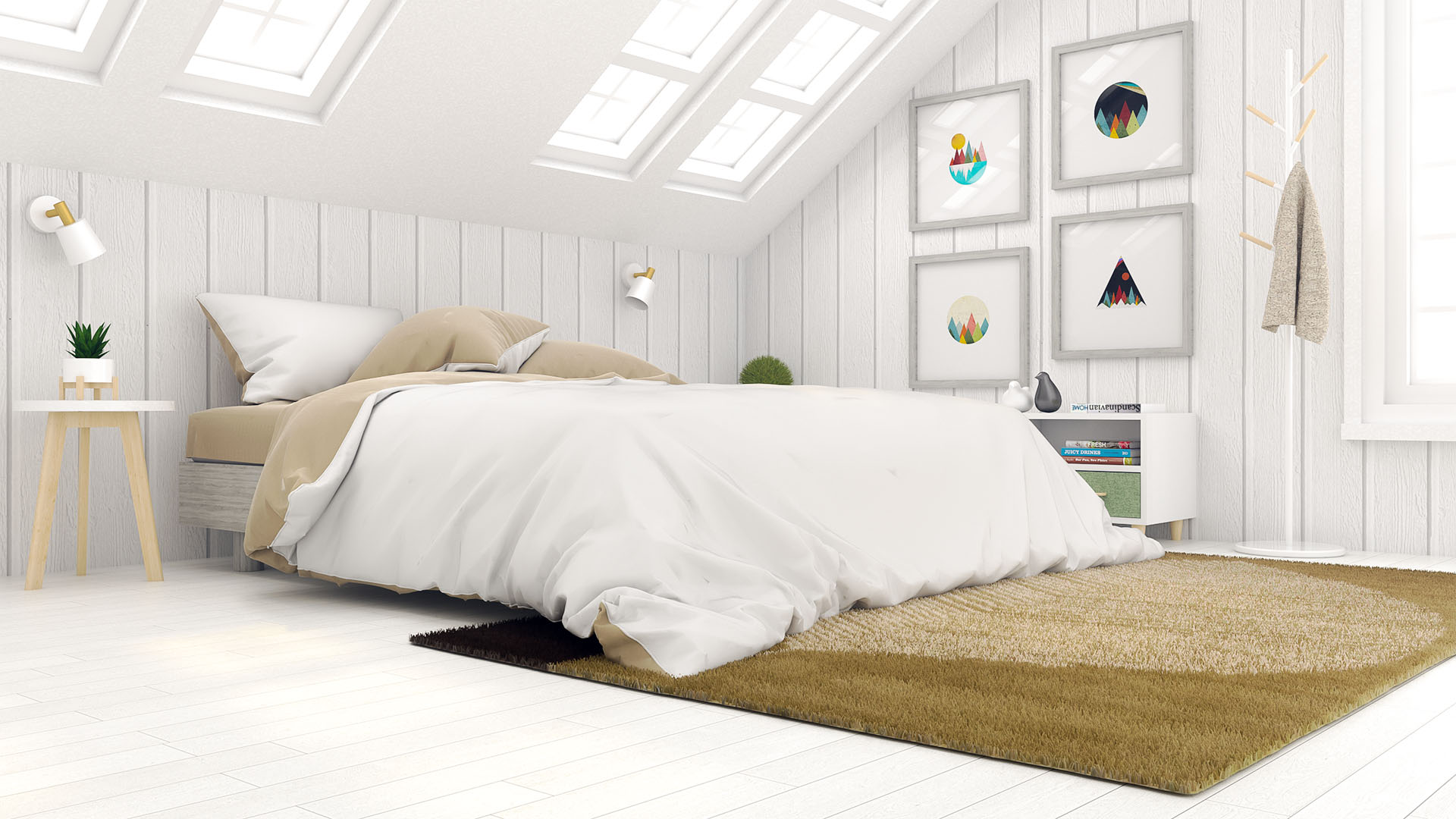 White Scandinavian Bedroom Design