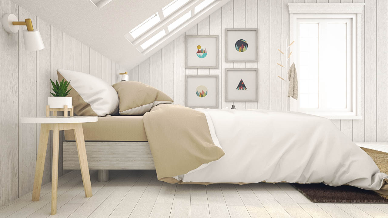 White Scandinavian Bedroom Interior and Furniture Design