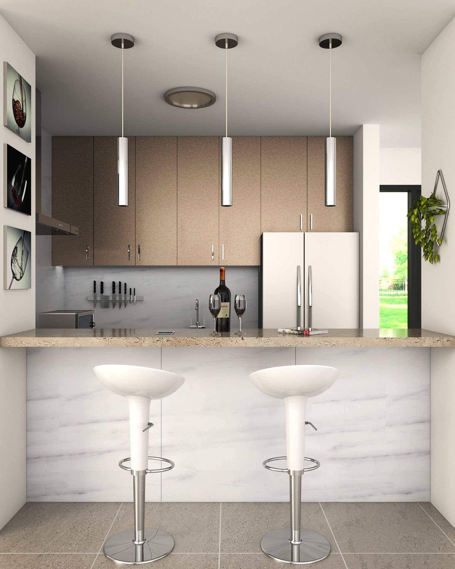 Brown and White kitchen design