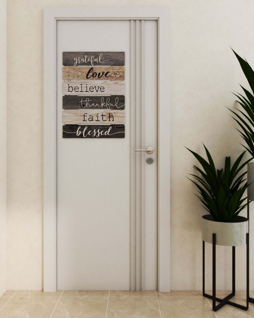 Creative Bedroom Door Design using Wall Art