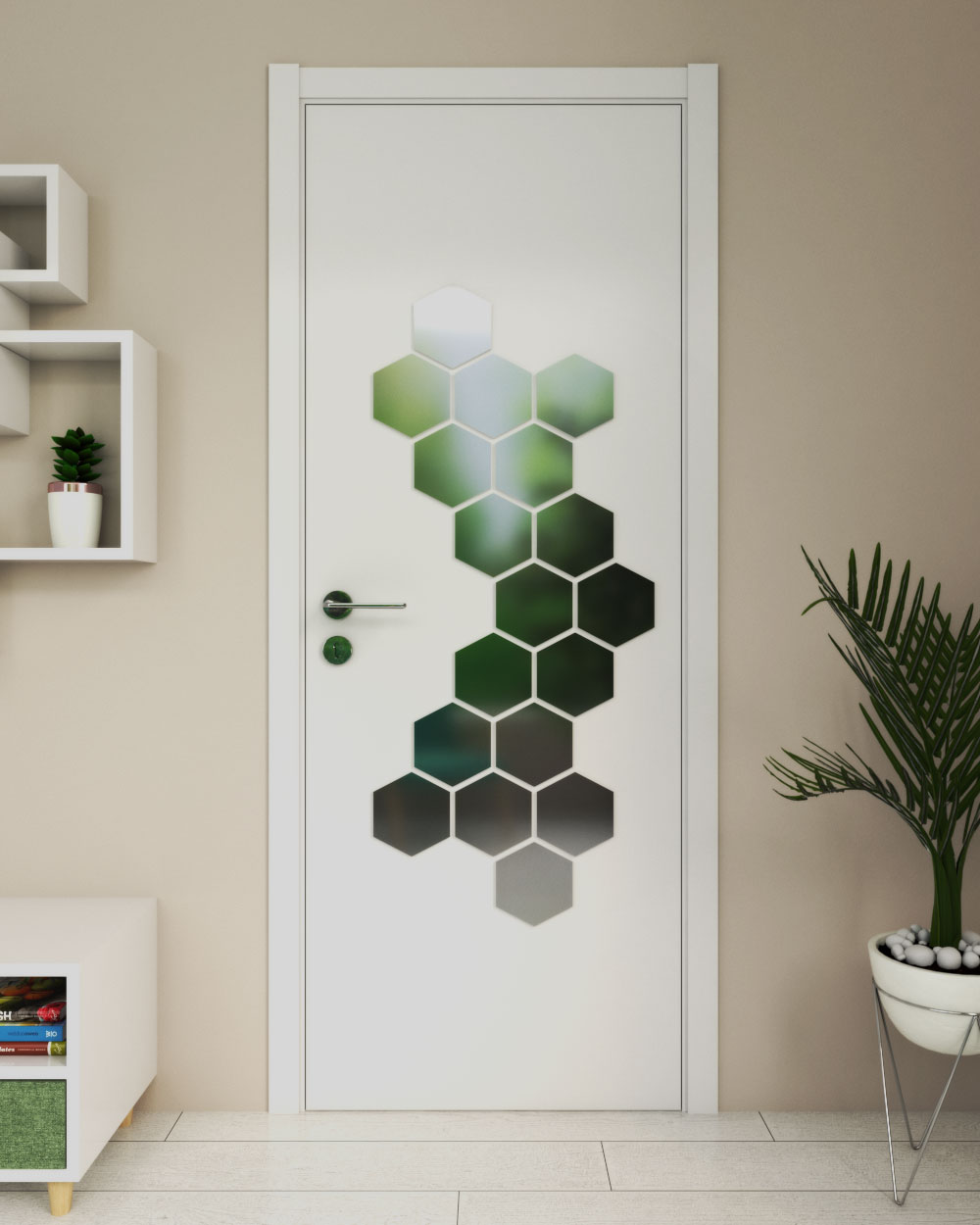 Door decorations ideas using hexagon mirror stickers