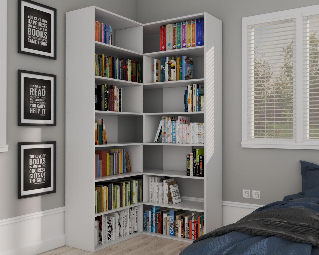 Bedroom Corner Ideas Using Corner Bookshelves