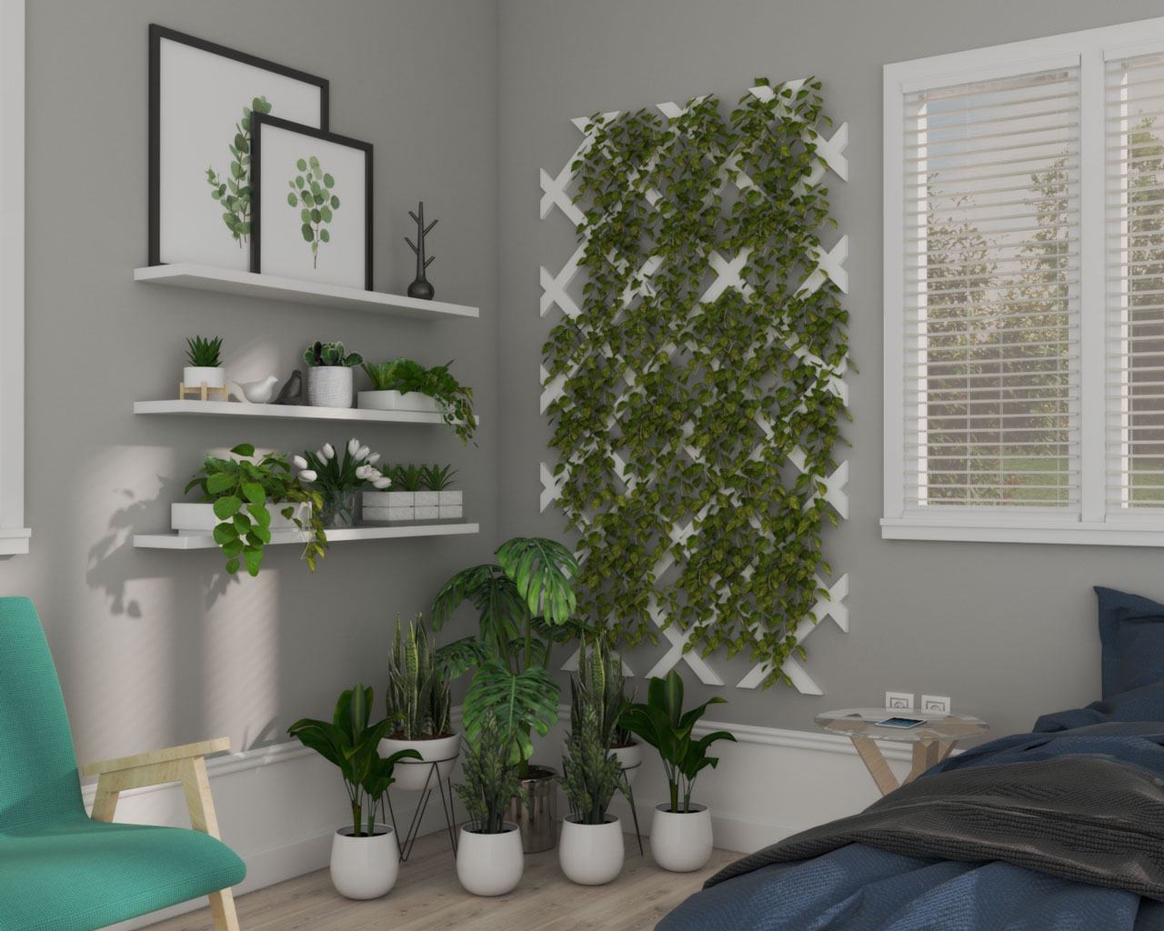 Eco Friendly Bedroom Corner Ideas using Plants and Vegetation