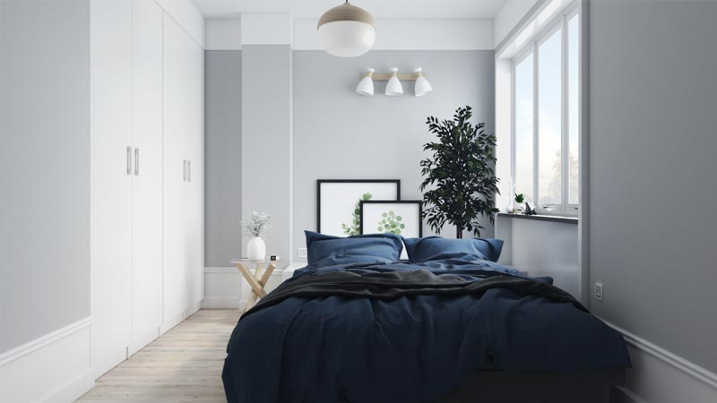 Stylish Small Scandinavian Bedroom