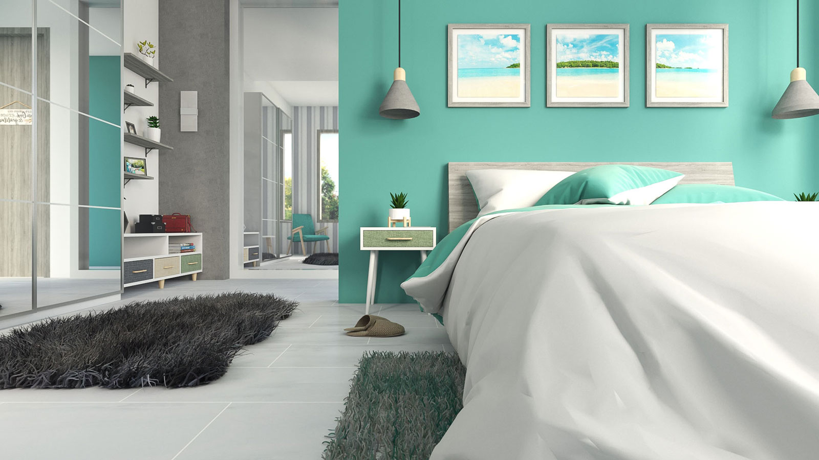 Teal and grey bedroom decor ideas
