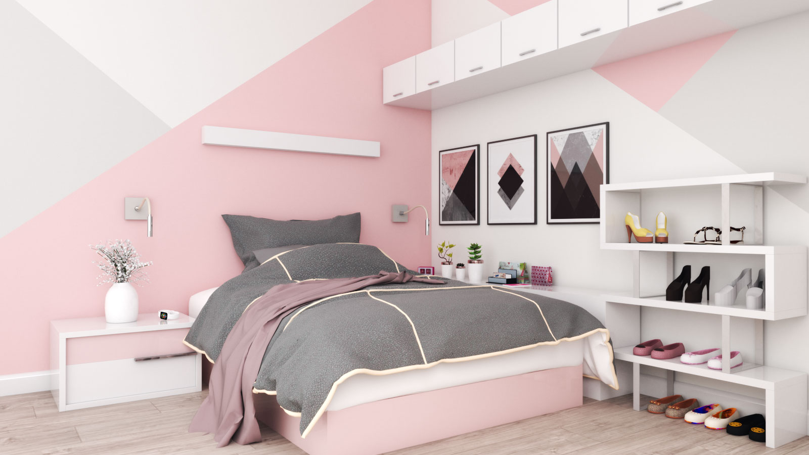 small rose gold and white bedroom design