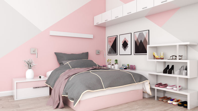 Small Rose Gold and White Bedroom