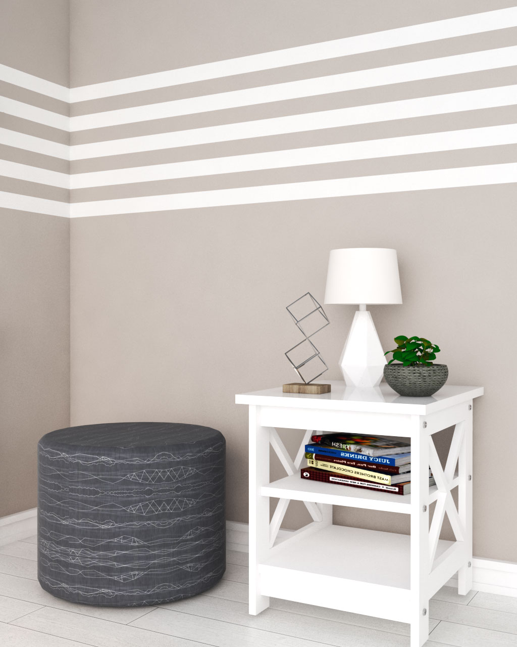 brown and white horizontal striped wall paint