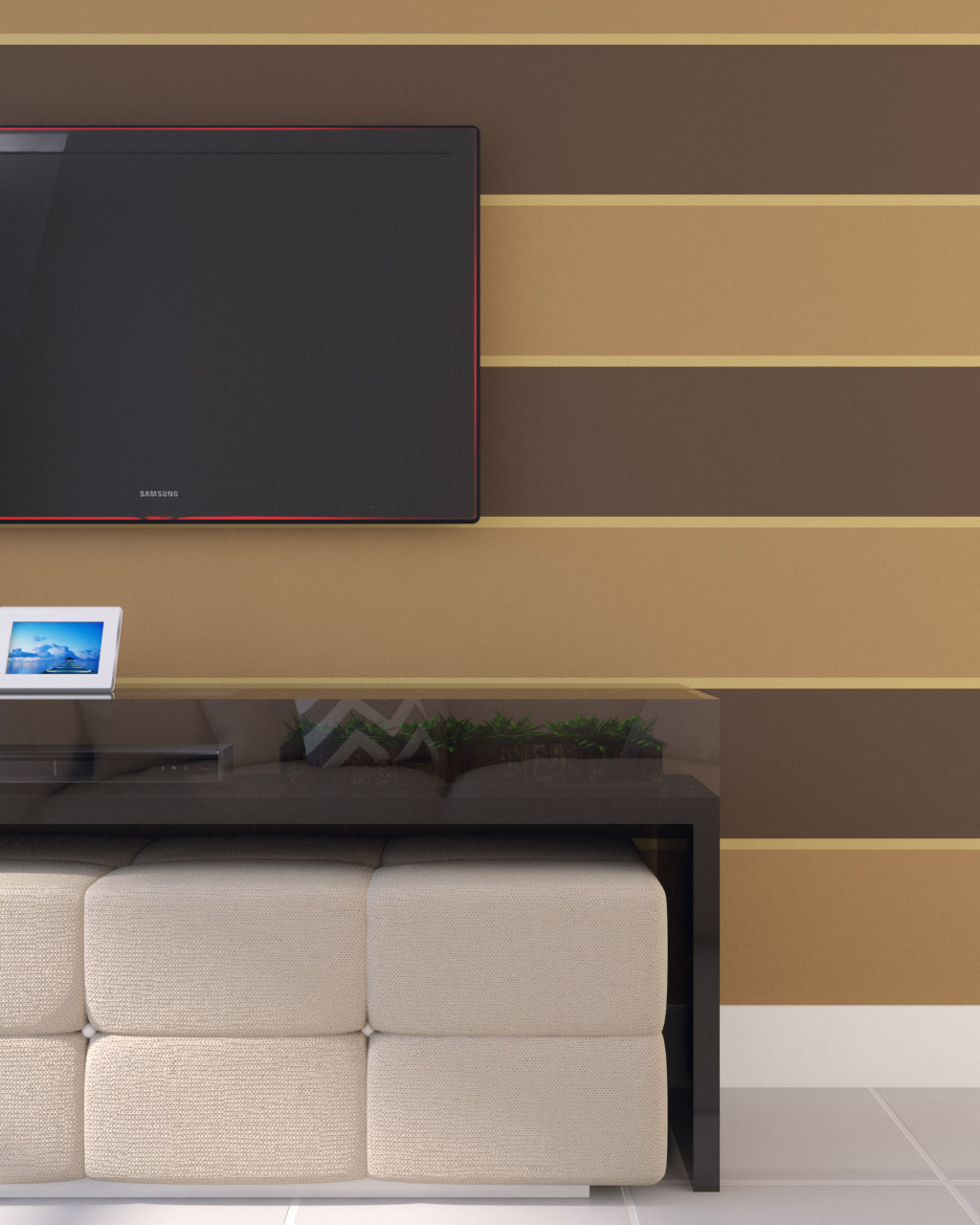 brown and gold horizontal wall paint ideas