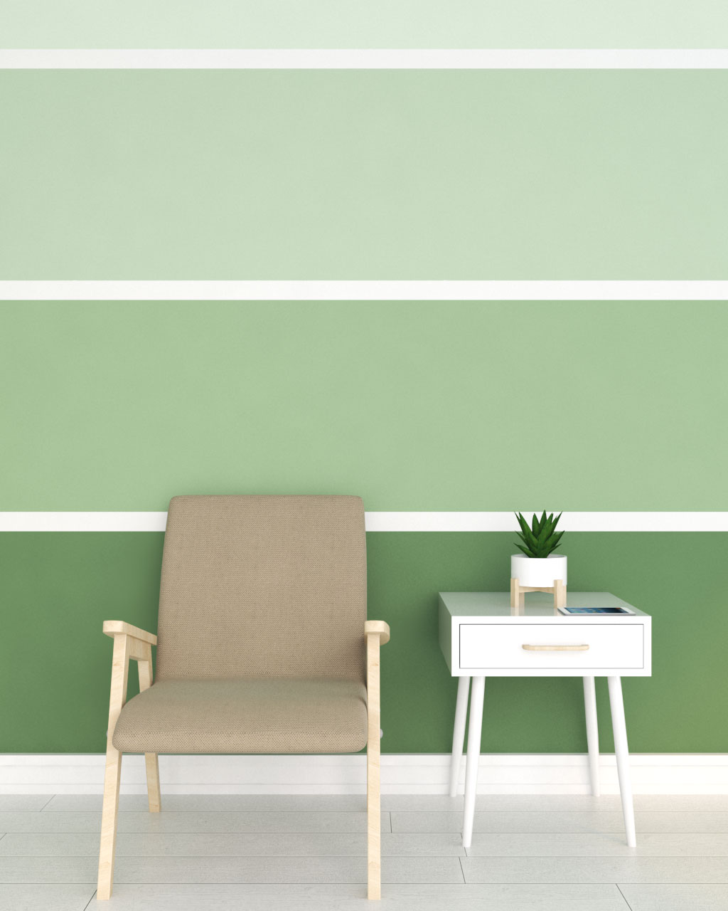 green striped horizontal wall paint ideas