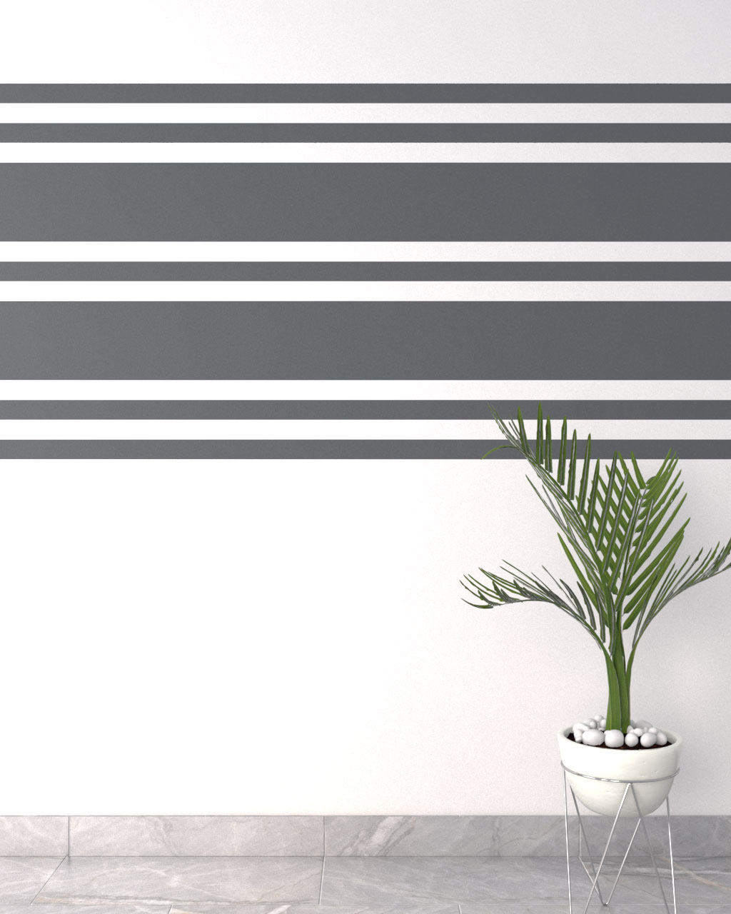 grey and white horizontal wall paint ideas