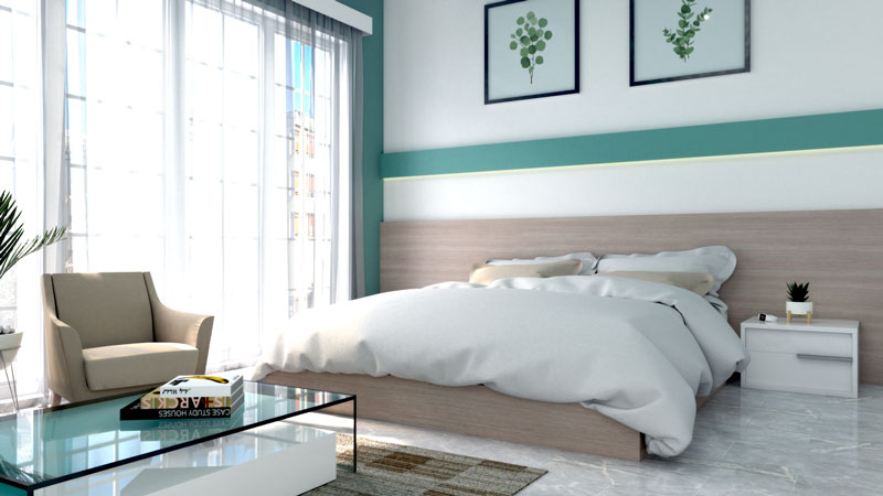 Modern Bedroom with Teal Accent