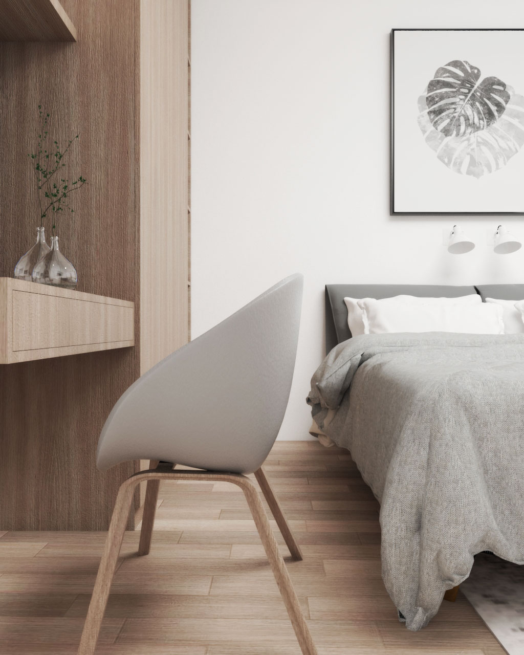 Simple Natural Scandinavian Bedroom Design