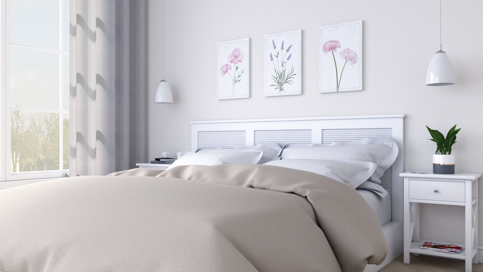 Beige bedroom decor for women