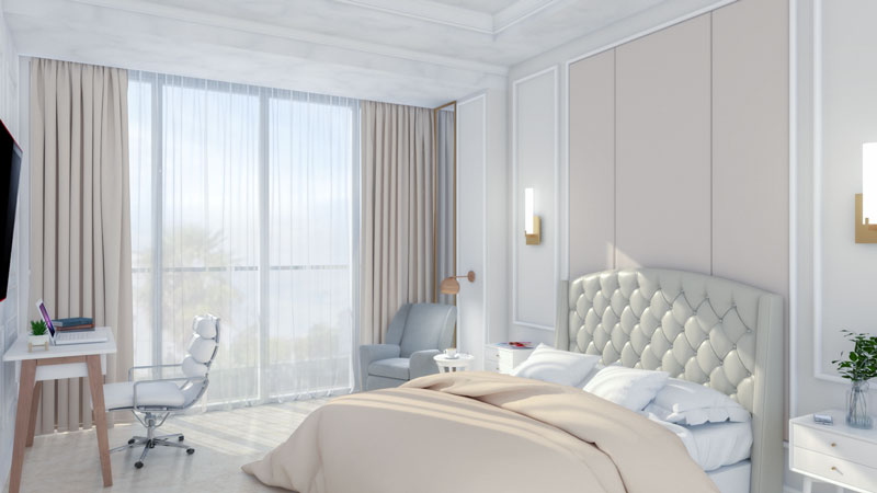 Glamorous Beige Art Deco Bedroom