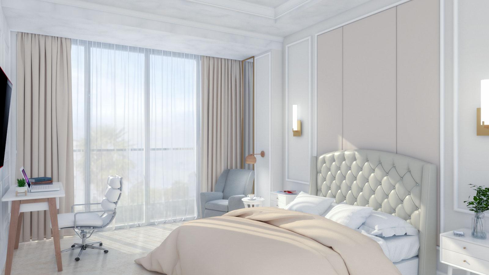 Cream/Beige Art Deco Bedroom