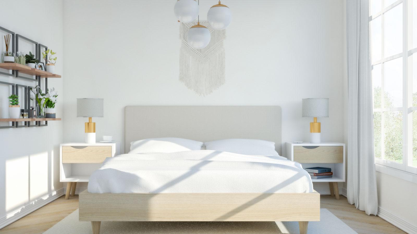 Beige modern mid-century bedroom