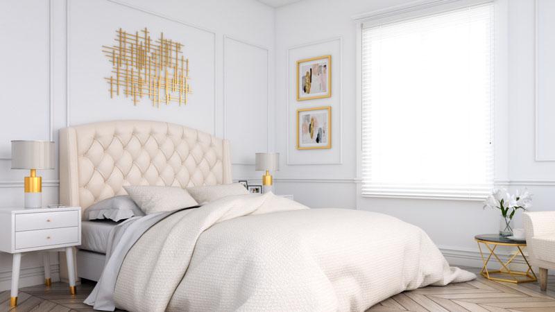 Gold and White Classic Art Deco Bedroom Interior Design