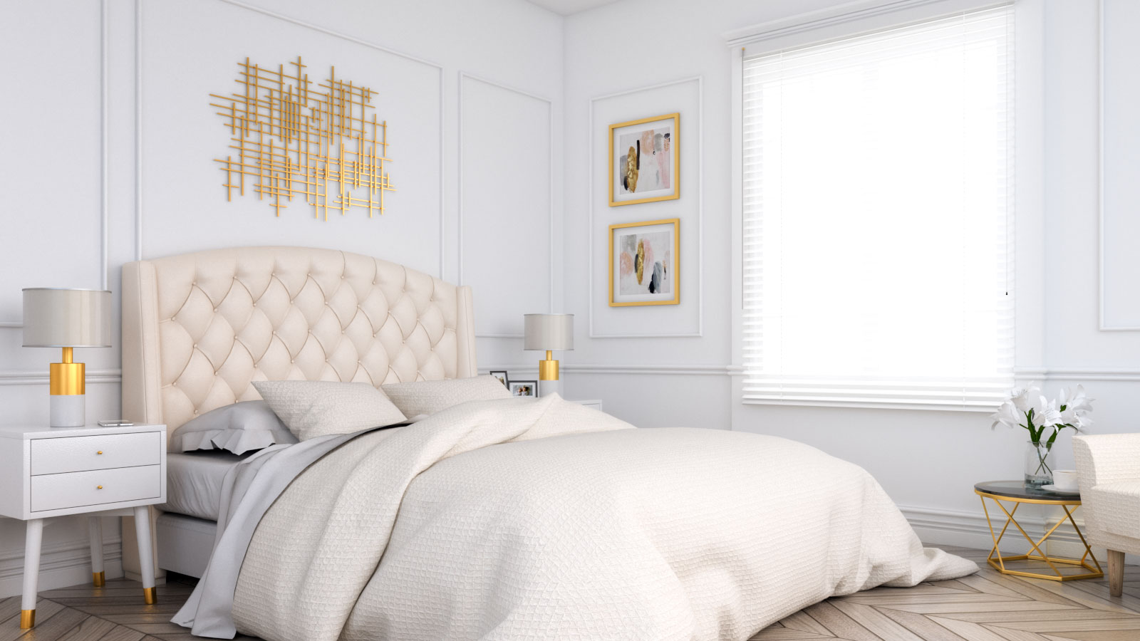 Gold and white classic art deco bedroom