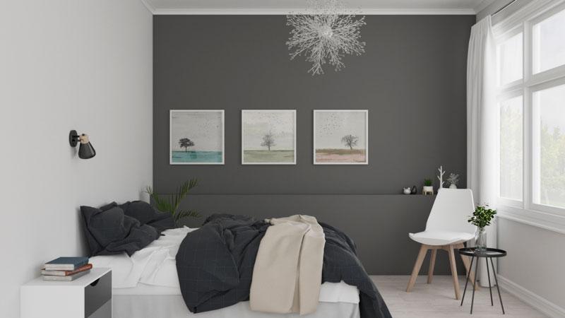 Modern Grey Scandinavian Bedroom Design