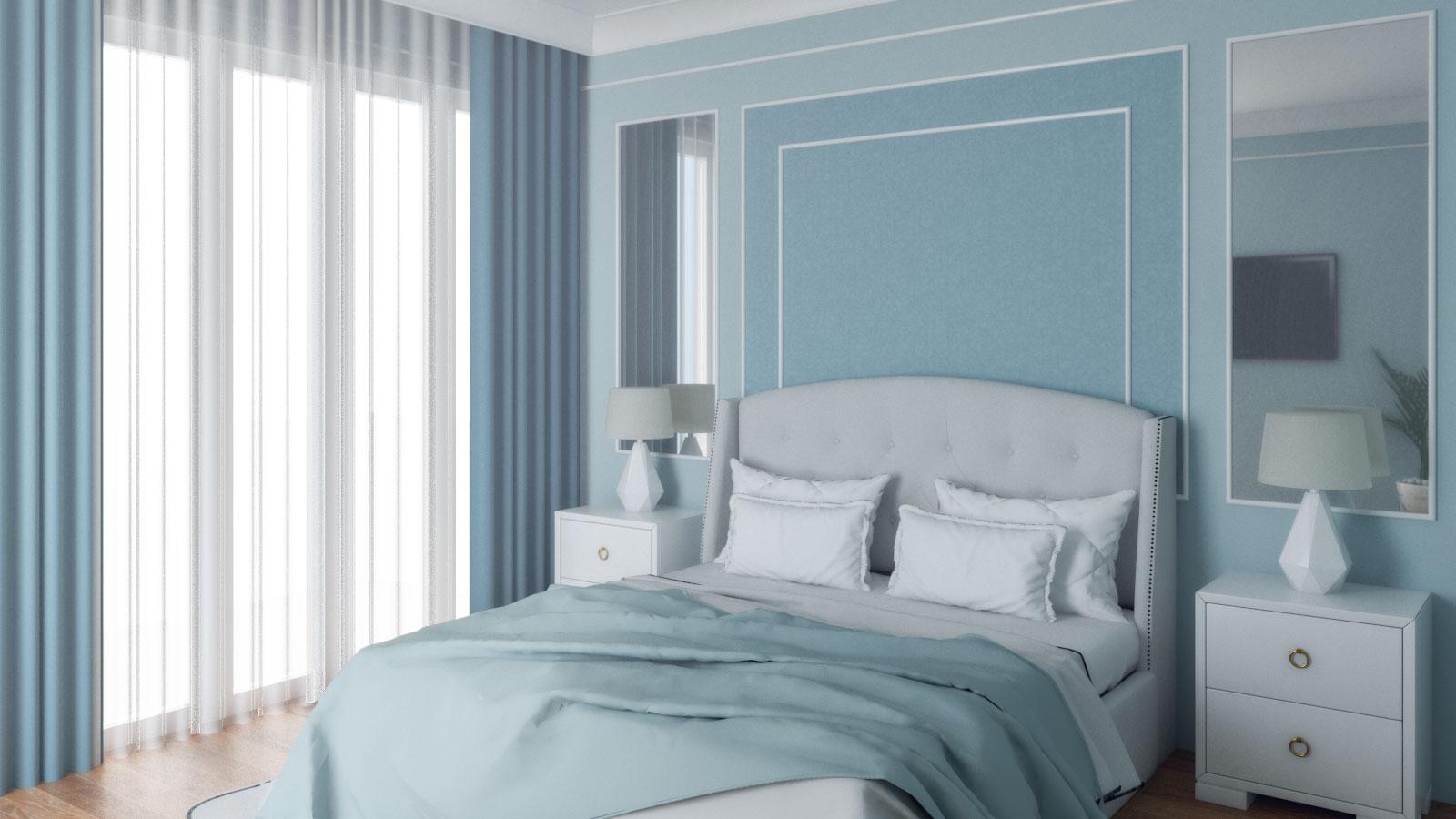 classic light blue bedroom design