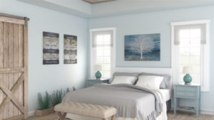 Cozy Light Blue Farmhouse Bedroom Design