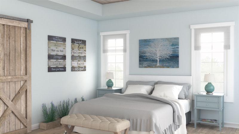 Cozy Light Blue Farmhouse Bedroom Design