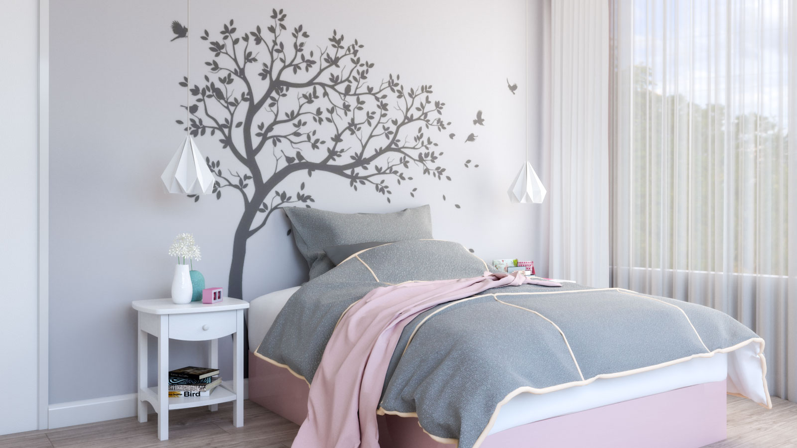 Grey and pink girls bedroom with tree decals on the wall