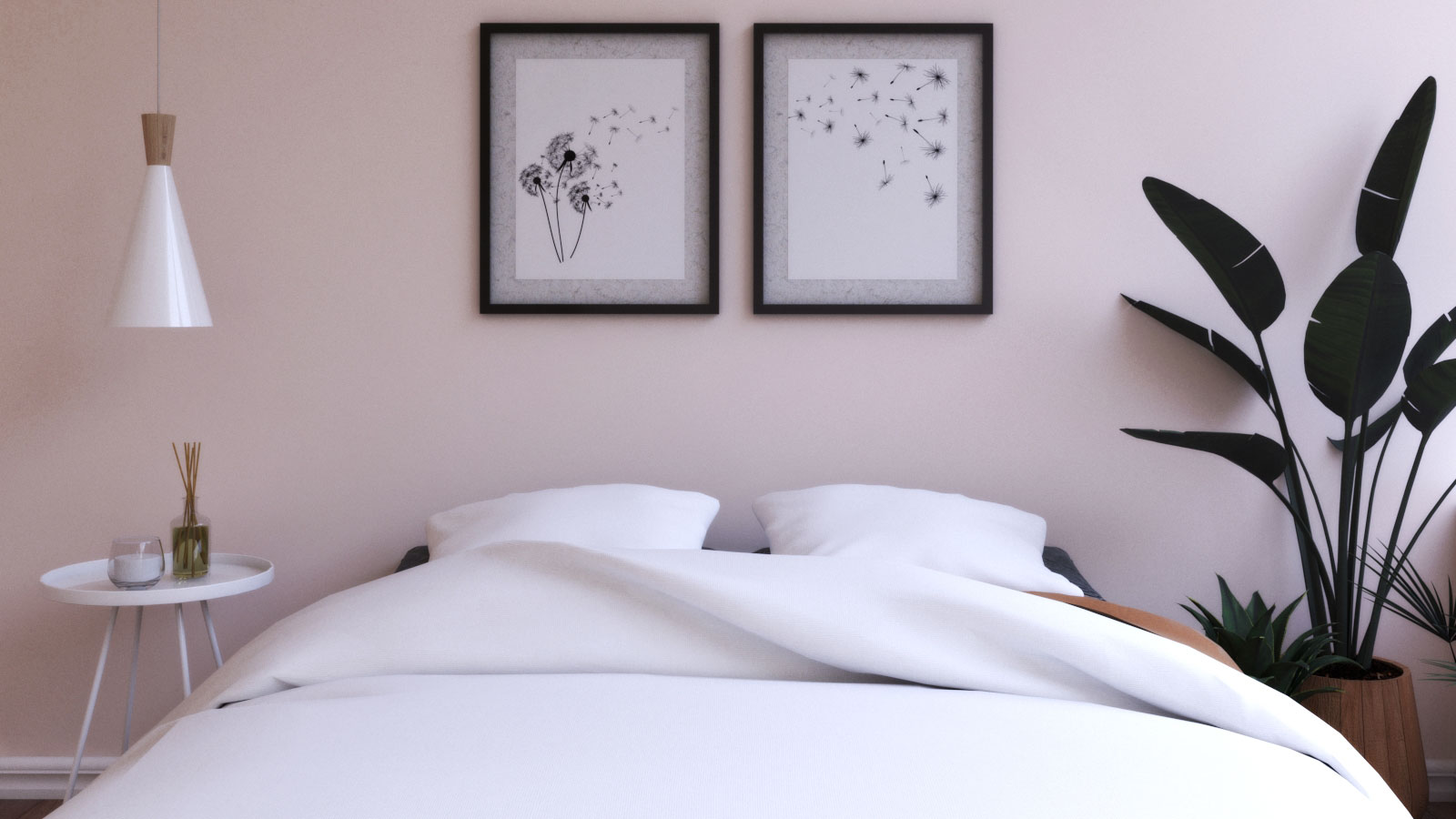 Pink Scandinavian Bedroom