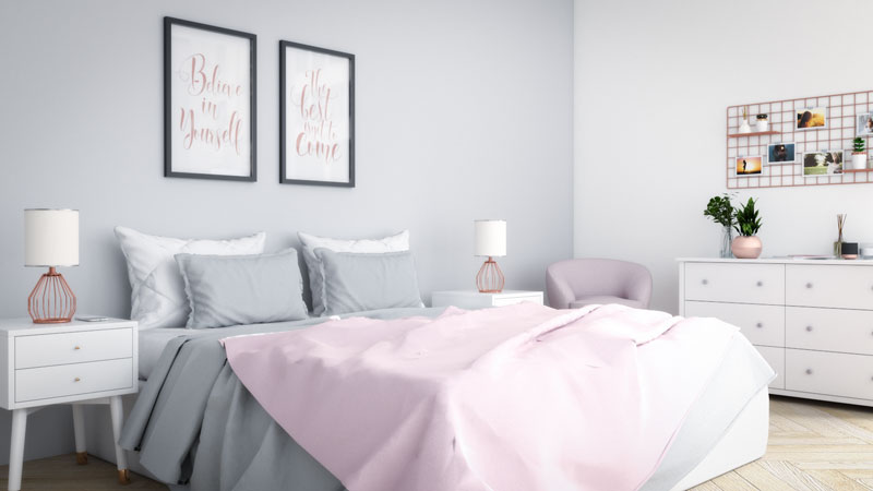 Glamorous Grey and Rose Gold Bedroom