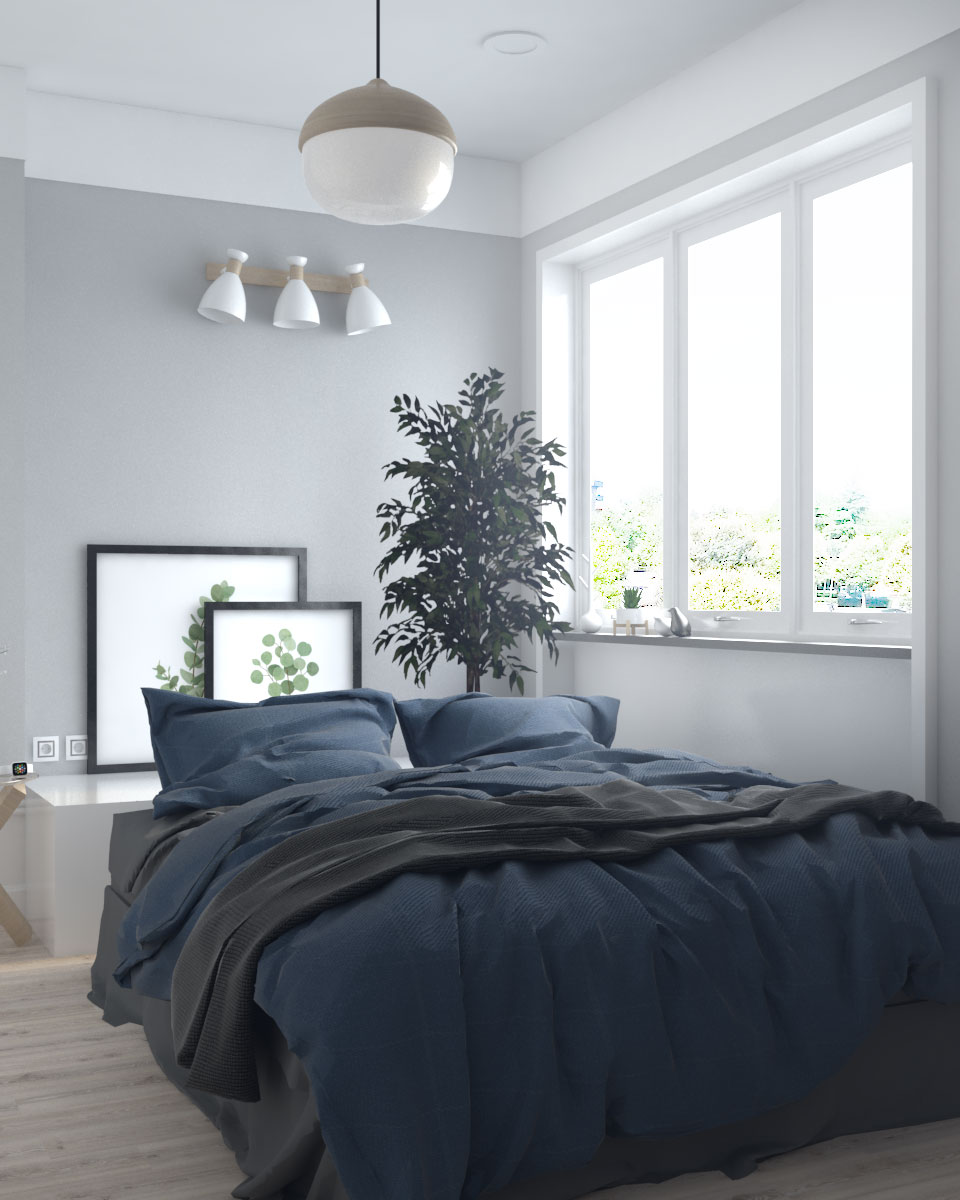 Stylish grey small scandinavian bedroom