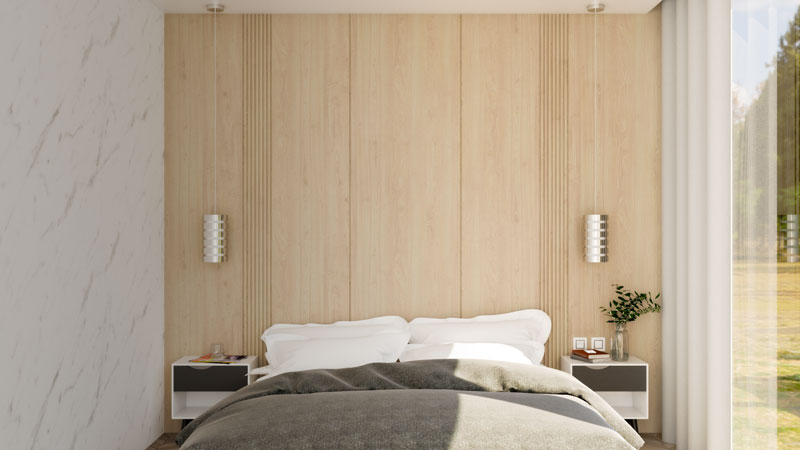 Small Modern Bedroom with Wood Accent
