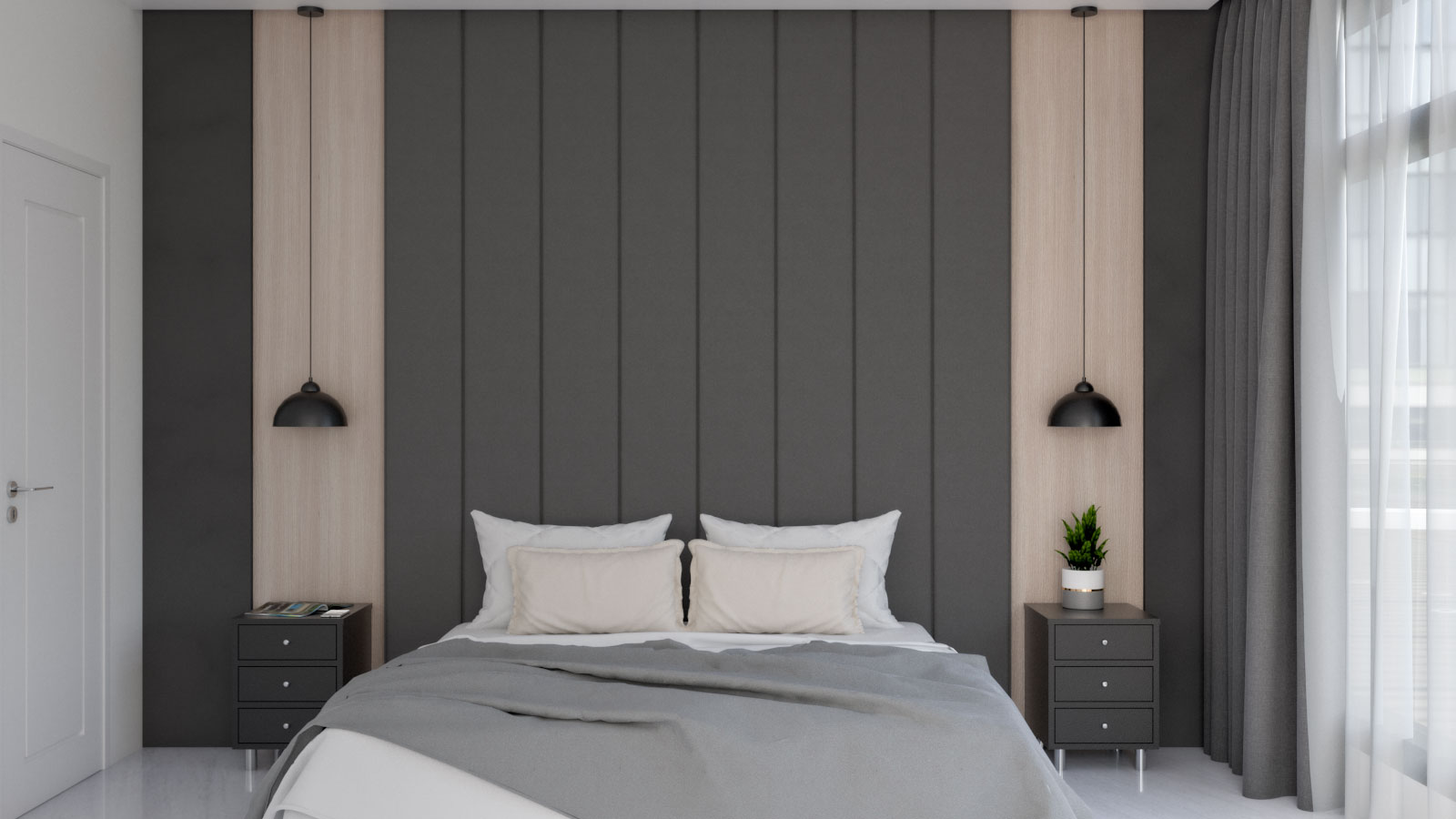 Small modern black bedroom with wood accent