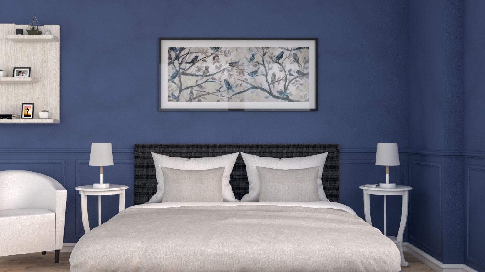 Vintage Royal Blue Bedroom Design Idea
