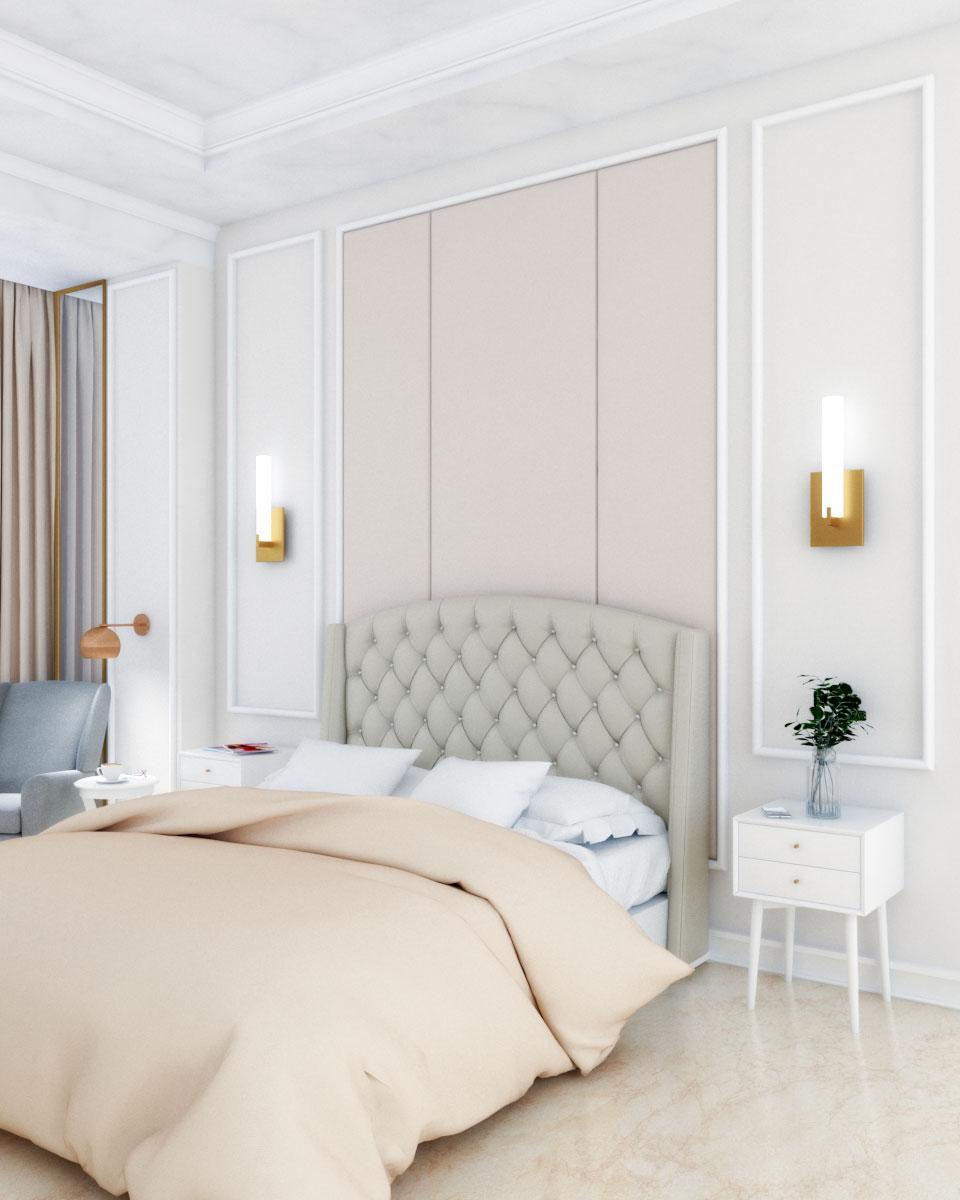 Beige art deco bedroom design