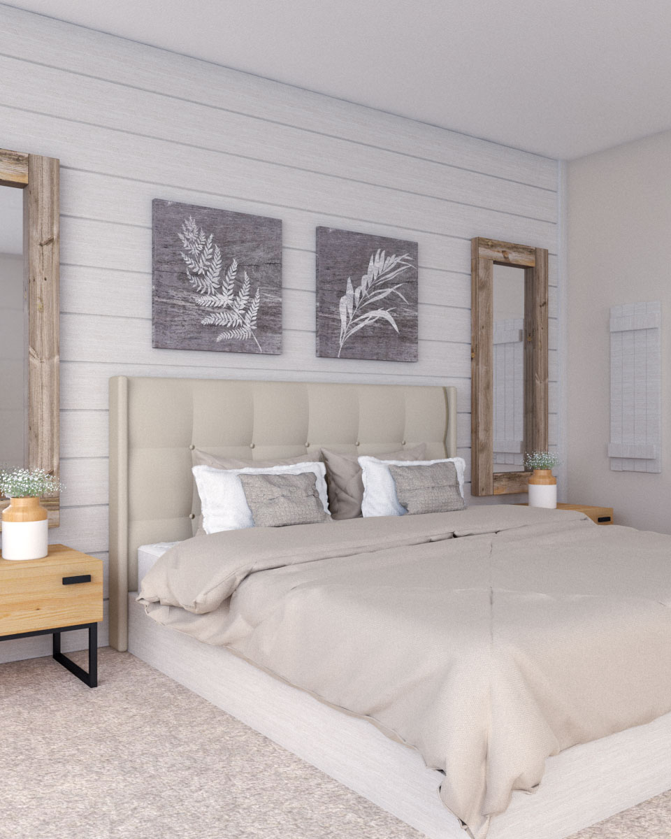 Beige bedroom with farmhouse style