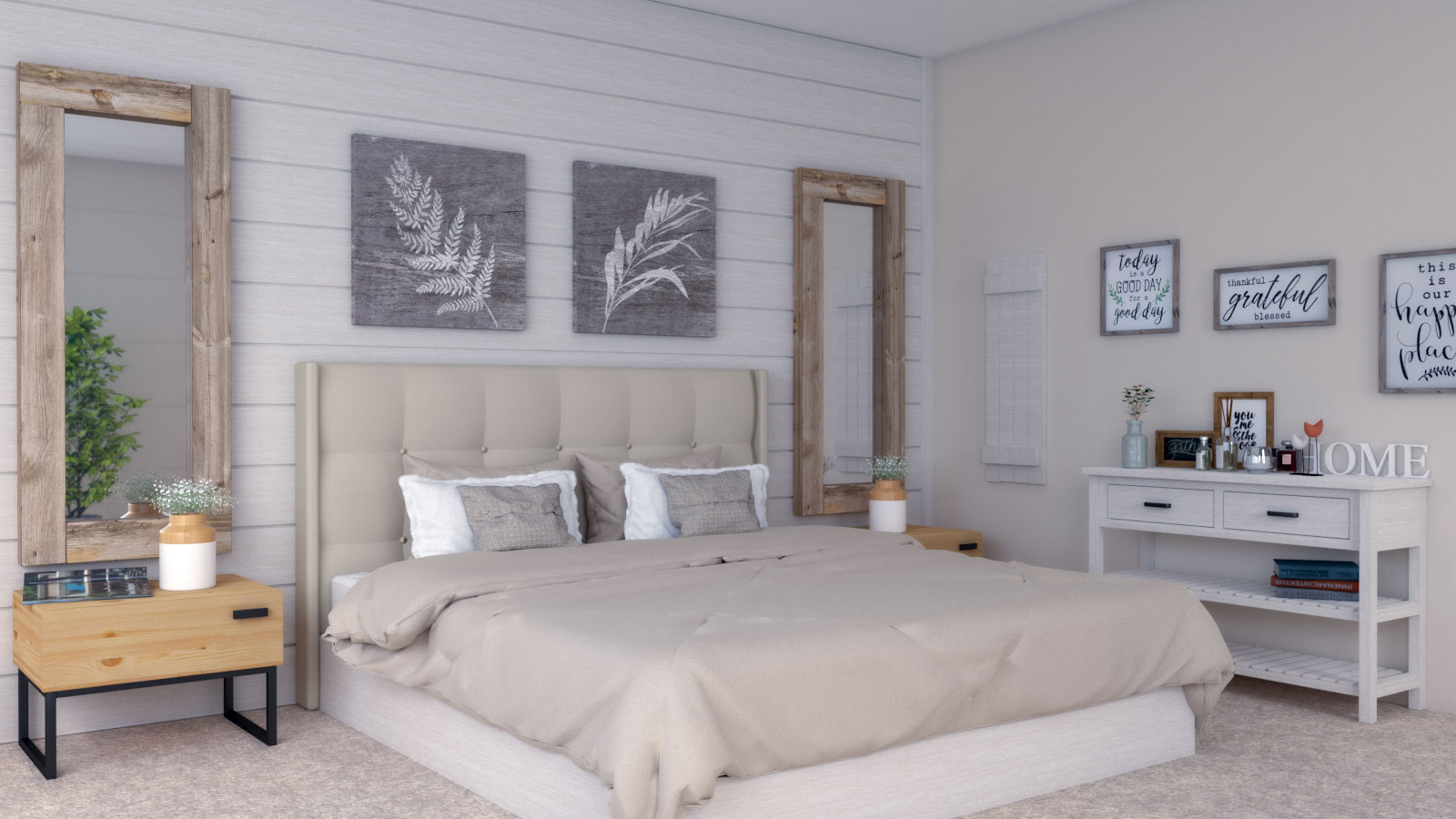 Beige Farmhouse Bedroom