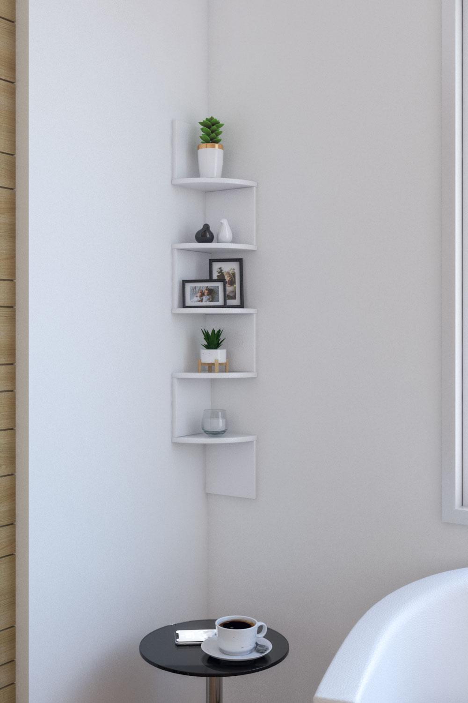 Minimalist modern 5-tier wall corner shelves